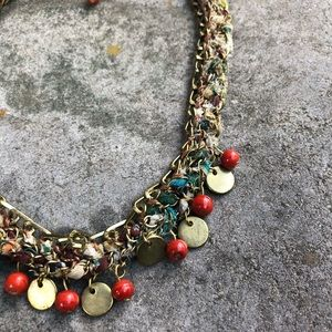 Brass Multiple Bead Re-cycled Fabric Necklace